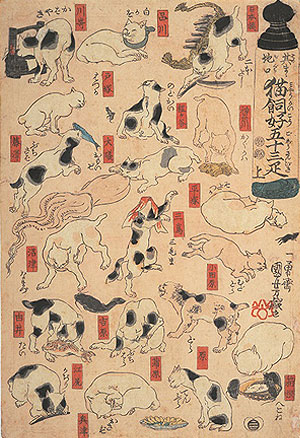 其まゝ地口 猫飼好五十三疋(部分)